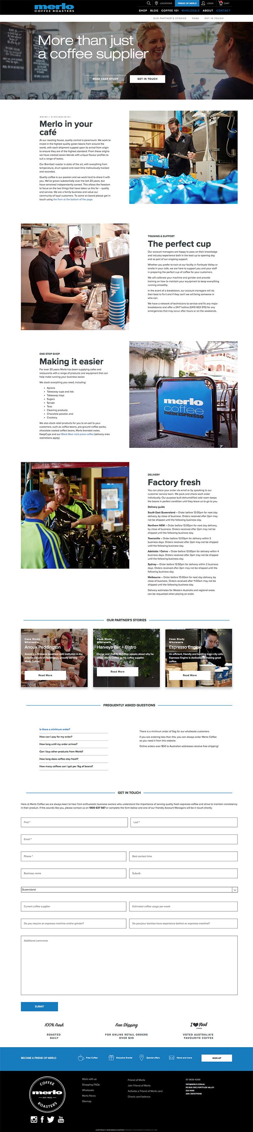 Merlo Coffee Wholesale Partner Page
