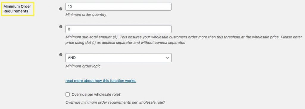 The Minimum Order Requirements settings in WooCommerce.