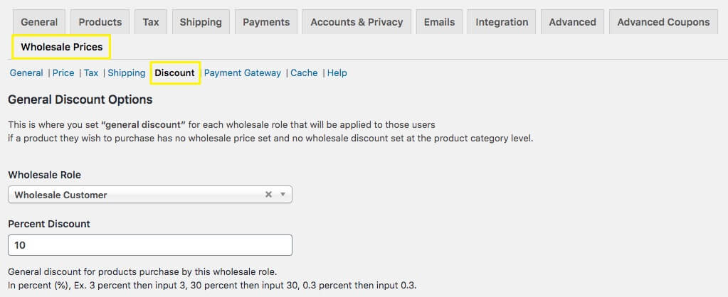 The Discount settings in WooCommerce.