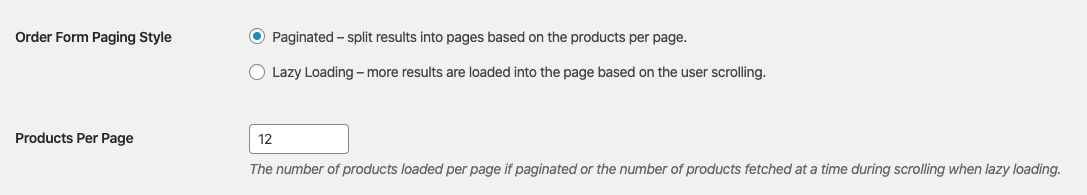 Wholesale Order Form Pagination Lazy Loading