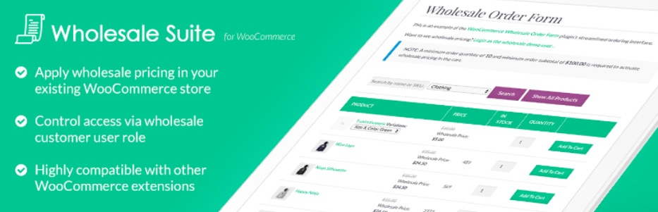 The free Wholesale Suite plugin for WooCommerce.