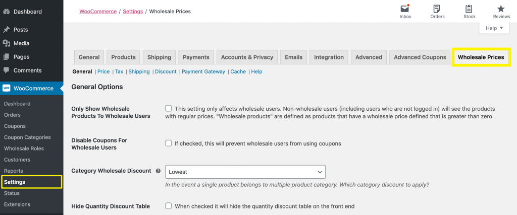 Accessing the Wholesale Prices settings.