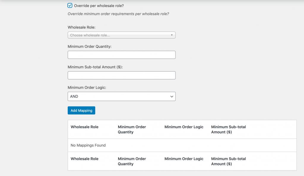 Role-based wholesale product minimum settings.