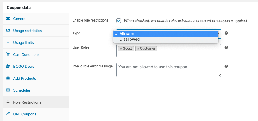 Advanced Coupons User Role Restrictions