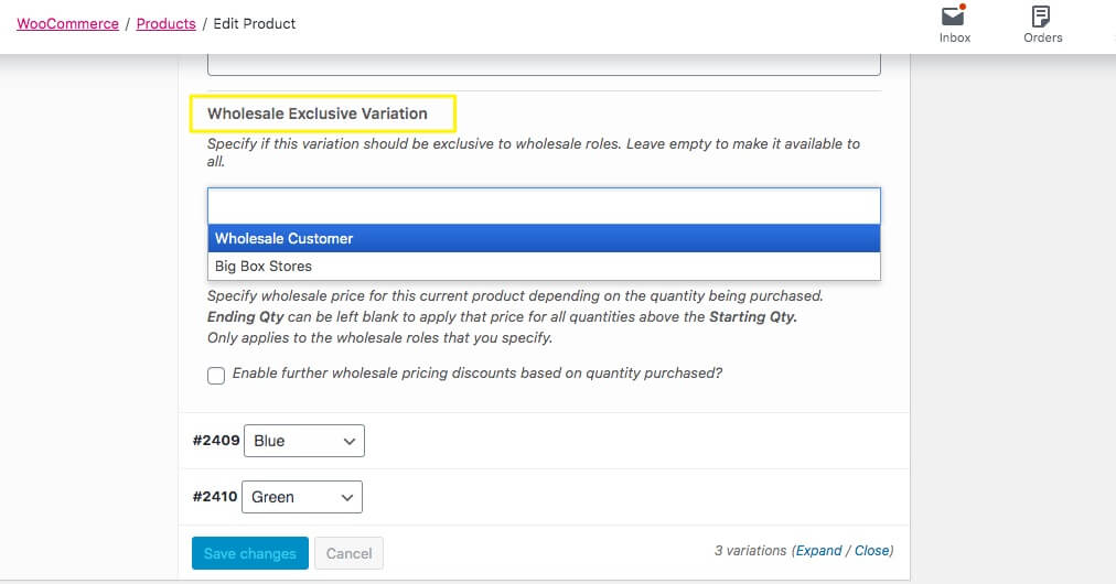 Setting the Wholesale Exclusive Variation option in WooCommerce.