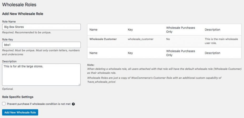 Adding new wholesale roles in WooCommerce.
