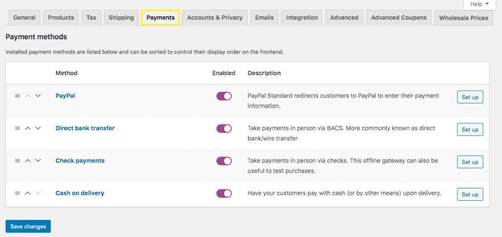 Payments settings menu in WooCommerce.