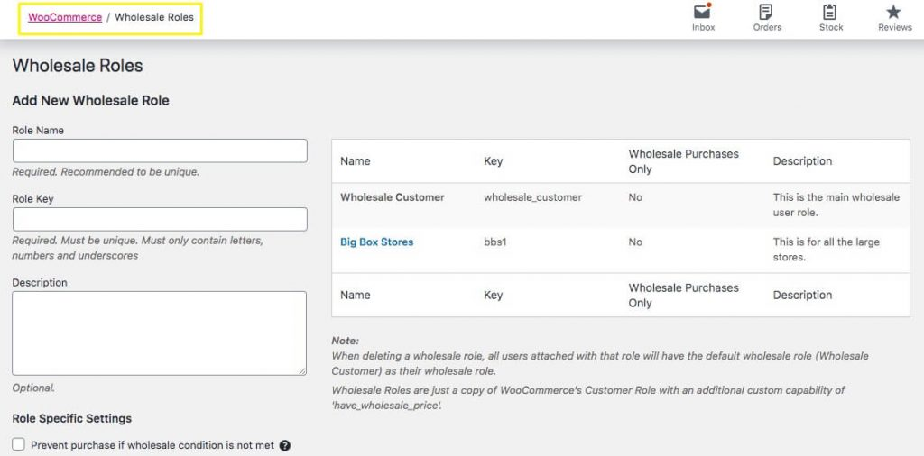 Creating a new Wholesale Role in WooCommerce.
