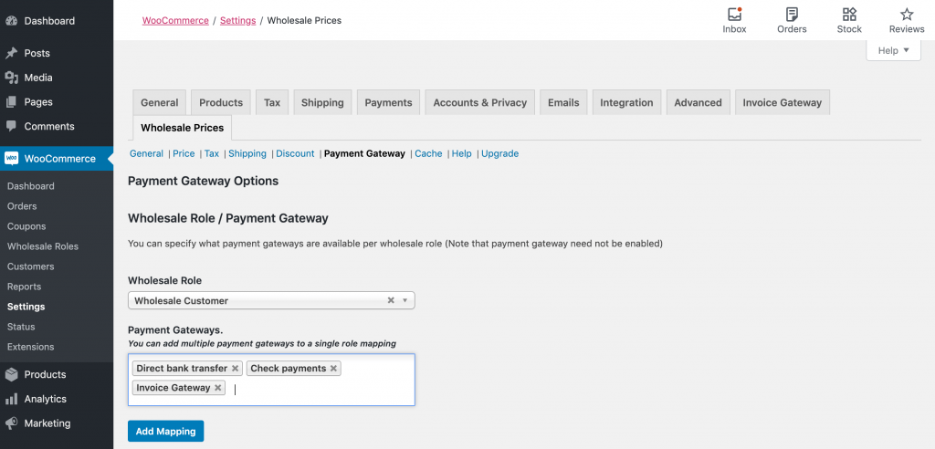 Adding allowed payment gateways for the wholesale customer role.