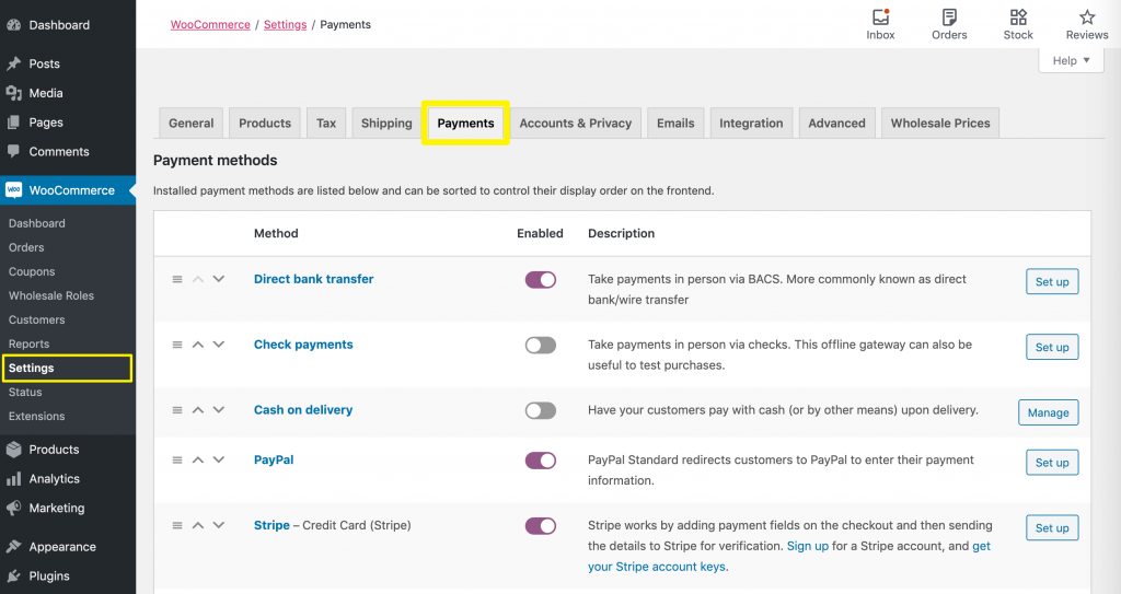 Turning on default payment options in WooCommerce.