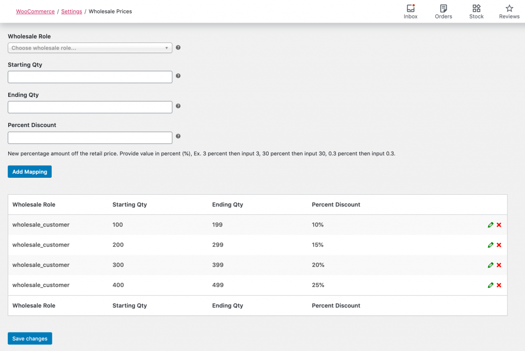 The list of discount quantity ranges in WooCommerce Wholesale Prices Premium's settings.