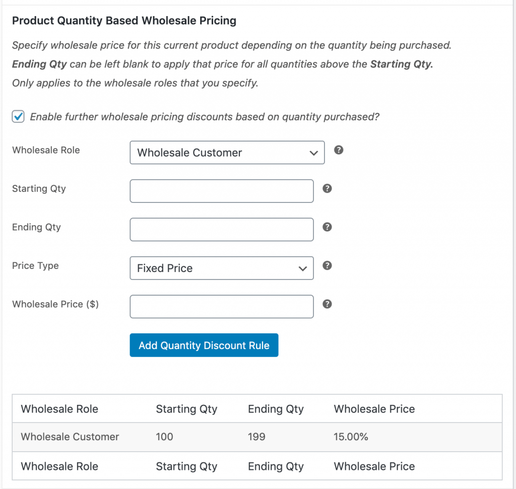 Overriding the general quantity based prices for a specific product.