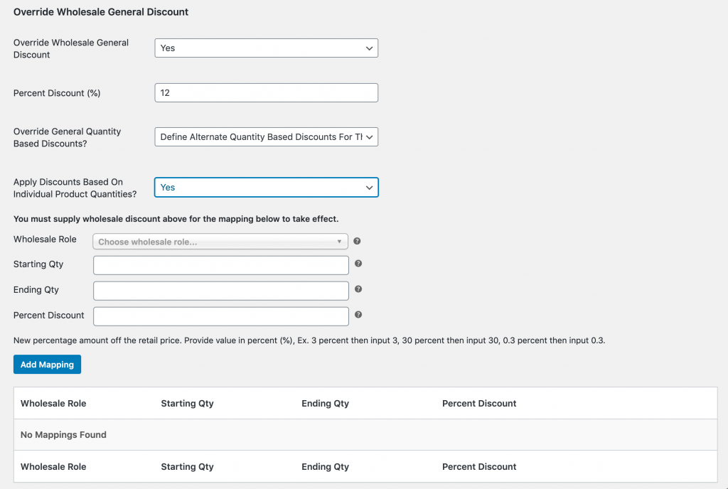 Overriding the general quantity based prices for a specific user.