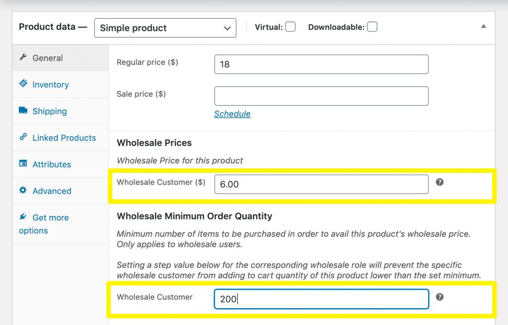 Setting the product's minimum order quantity.
