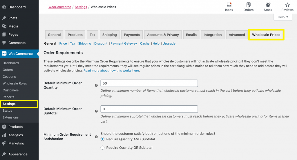 You can stop customers from ordering until they reach a certain subtotal by accessing the Wholesale Prices settings first.