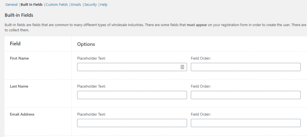 Configuring your wholesale signup built-in fields.