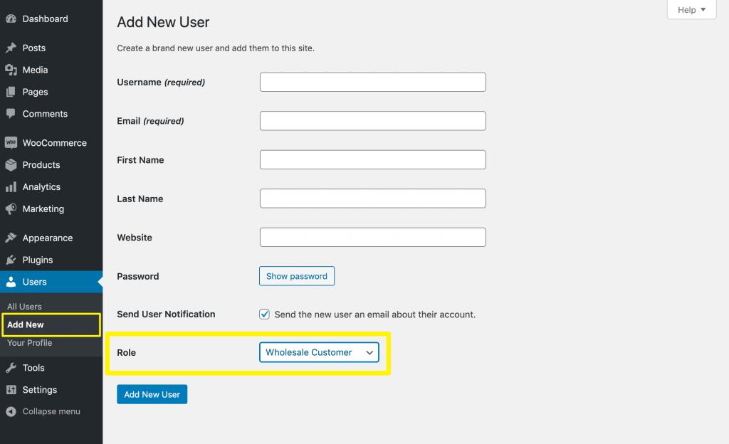 Create a new wholesale customer account.