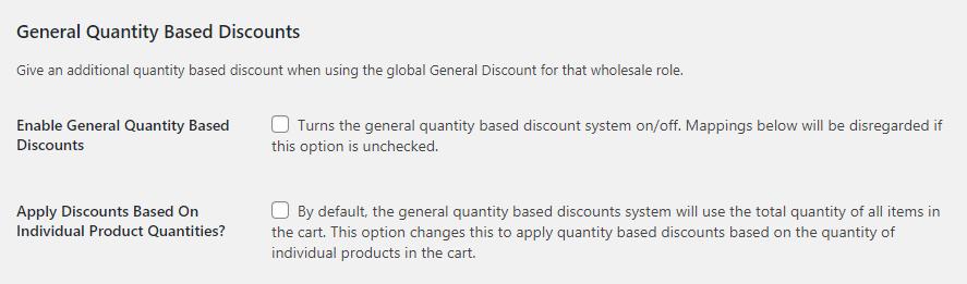 Enabling general discounts.