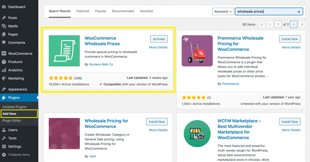 Installing WooCommerce Wholesale Prices.