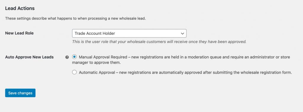 Wholesale Lead Capture Lead Actions settings.