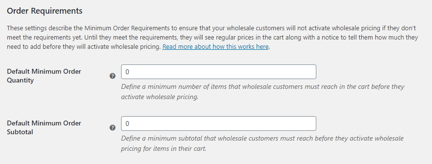 Configuring your wholesale order requirements.