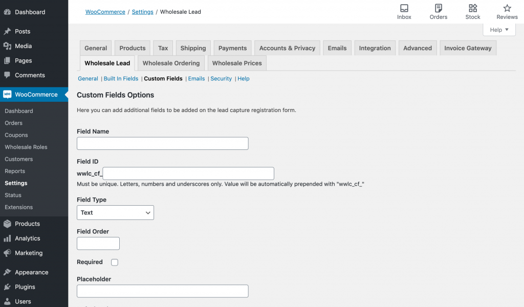 Creating a custom field for a WooCommerce trade account registration form.