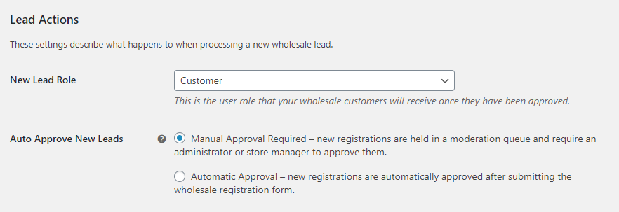 Configuring default wholesale user roles and automatic approval.