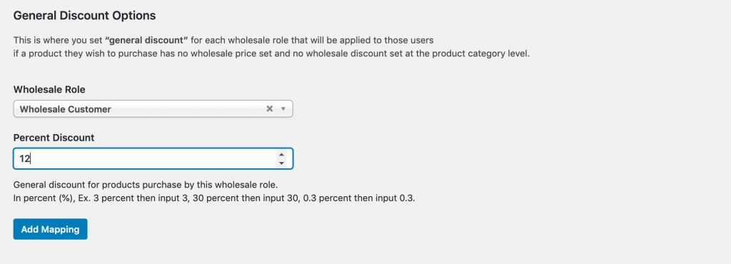 Setting a global % discount for wholesale.