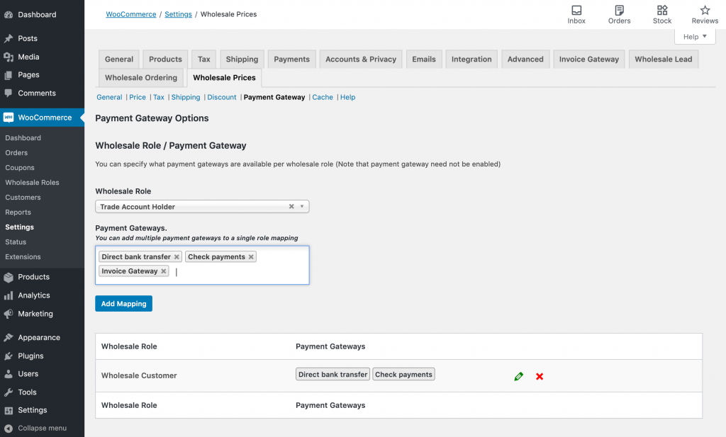 Enabling WooCommerce trade account payment methods.