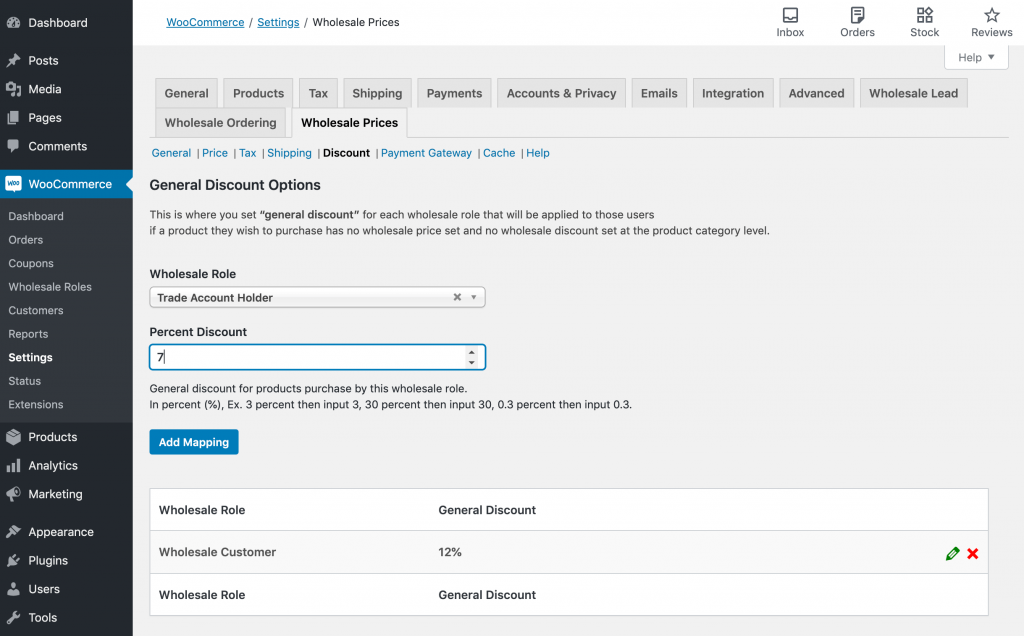 Setting prices for a new WooCommerce trade account.