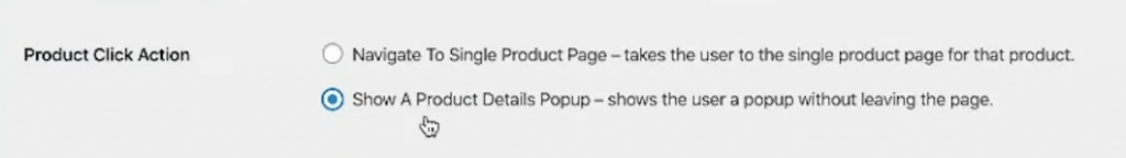 Product Click Action section.