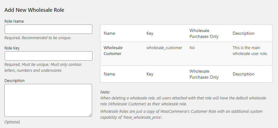 Creating new wholesale customer roles.