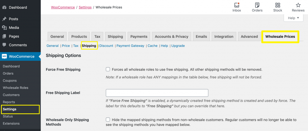 The Wholesale Prices shipping settings.