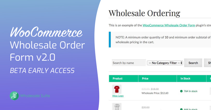 Wholesale Order Form Beta Early Access