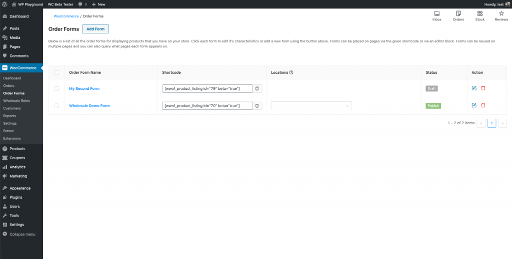 Multiple forms in WooCommerce Wholesale Order Form version 2