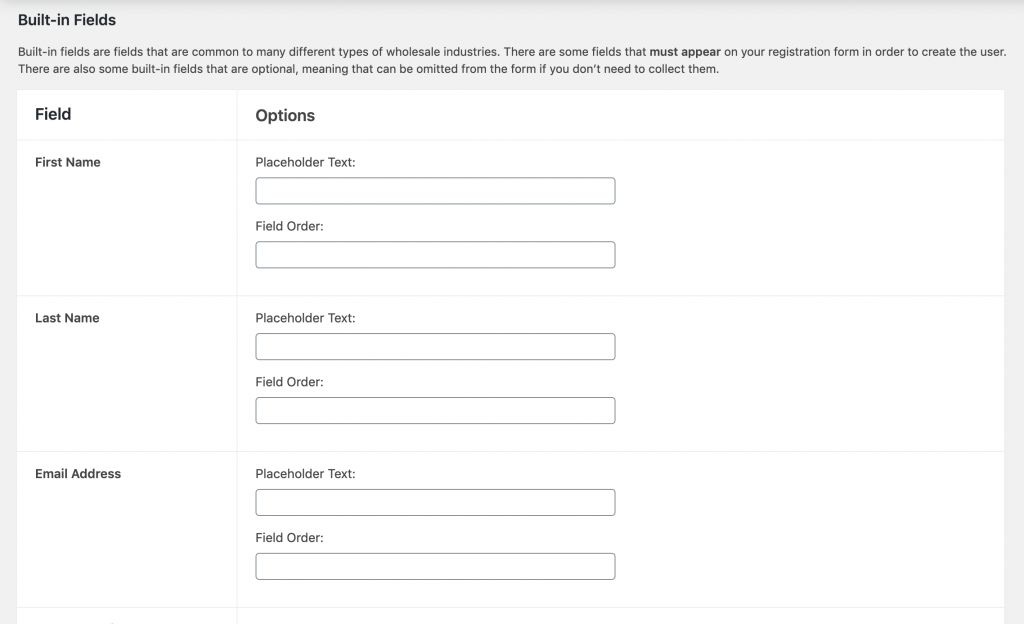 The built-in fields from WooCommerce Wholesale Lead Capture.