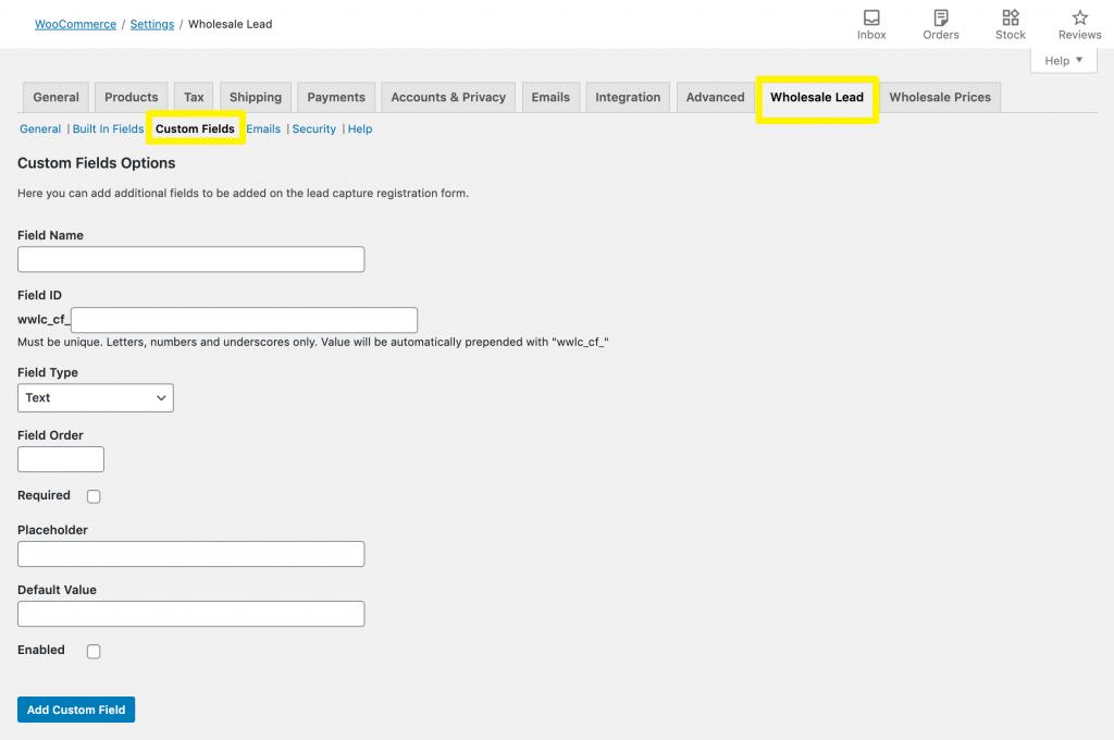 WooCommerce account plugin custom fields.