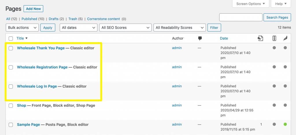The pre-built pages included in the WooCommerce Wholesale Lead Capture plugin.