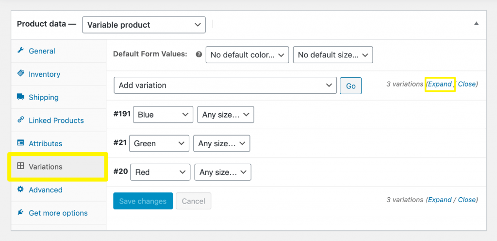 The WooCommerce product variation settings.