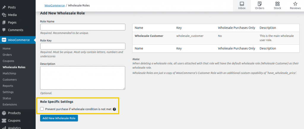 The Role Specific Settings checkbox.
