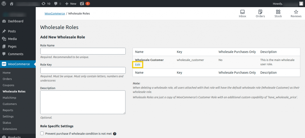 The Wholesale Roles screen in the WordPress dashboard.