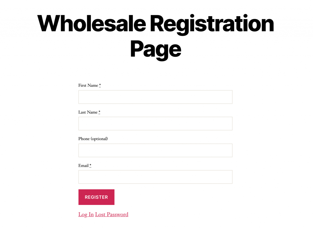 An example of a wholesale account registration page.