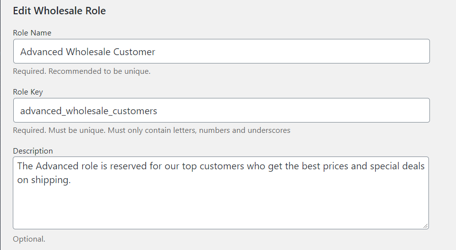 Adding a new wholesale user role