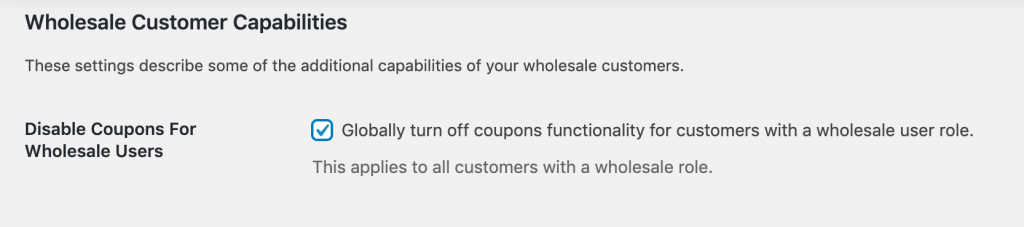 The Disable Coupons for Wholesale Users setting.
