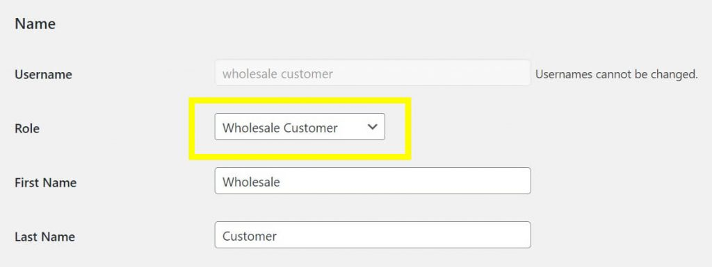 Assigning a user to a wholesale role.