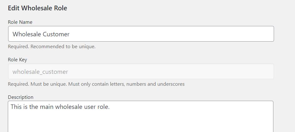 Customizing the Wholesale Customer user role