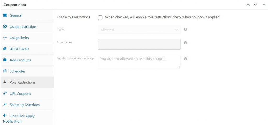 The Role Restriction settings for WooCommerce Coupons.
