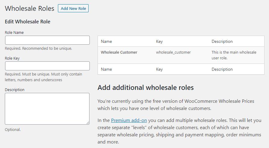 Wholesale WooCommerce user roles