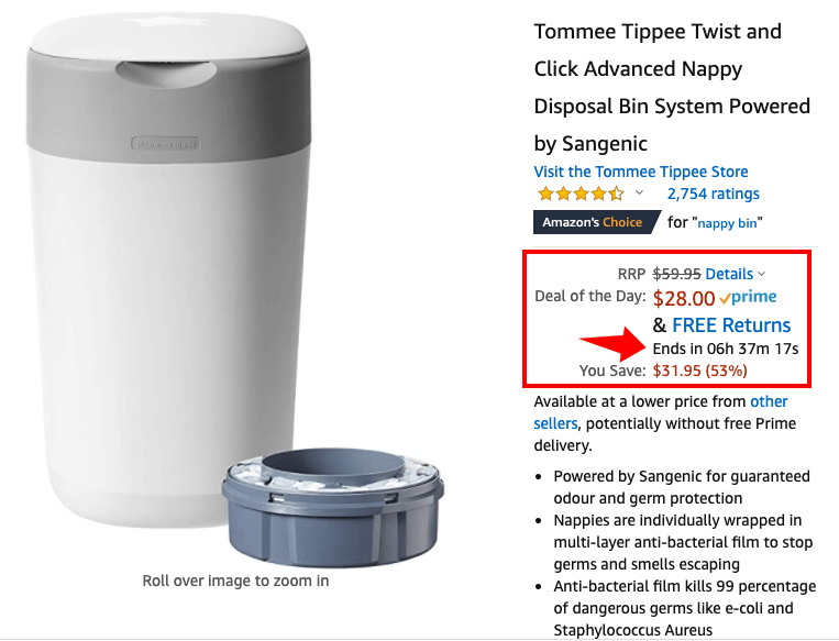 Scarcity trigger on Amazon deal of the day product