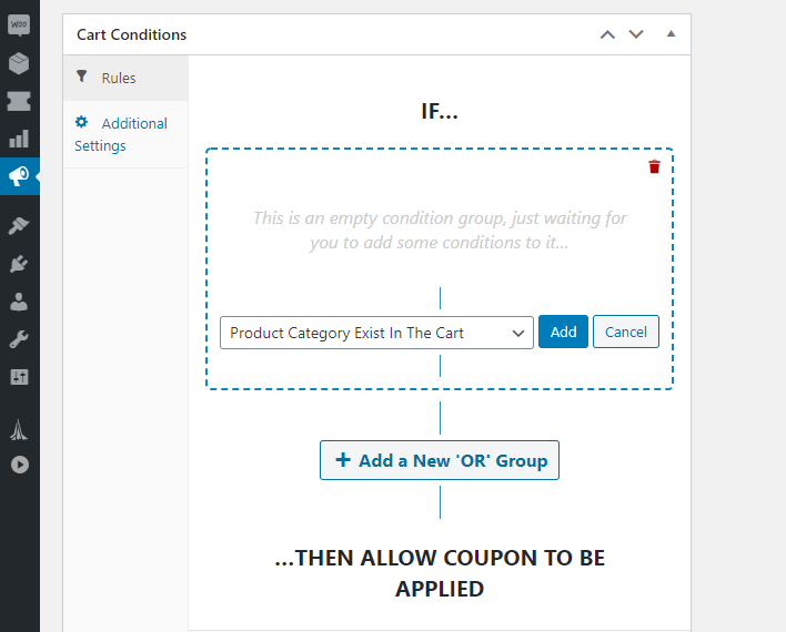 Configuring cart conditions.